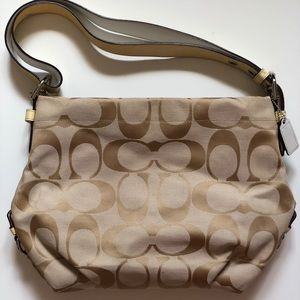 COACH Cream Jacquard/Leather Shoulder Handbag